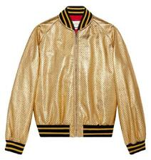 GUCCI GUCCY PRINT LEATHER BOMBER JACKET IT 44 UK 12