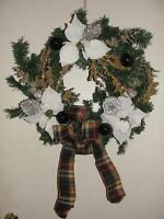 Shimmer Gold White Plum Ornamental Pine Christmas Holiday Door Wall Wreath 20""