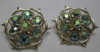 Vintage Clip On Earrings Signed Sarah Coventry Gold Tone Blue Green Rhinestones