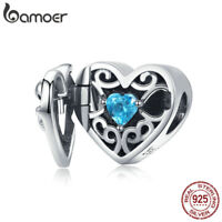 BAMOER .925 Sterling silver Heart Charm Mystical Stone For Bracelet Jewelry