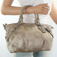 NWT Coach Madison Dotted OP Art Sophia Satchel Shoulder Bag 15935 Khaki RARE