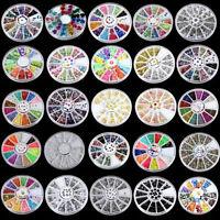 Muticolor Nail Art Tips Decoration 3D Acrylic Glitter Rhinestones DIY Wheel Sets