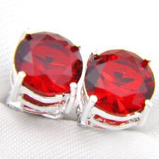 Red Garnet Gemstone Silver Stud Earrings Woman Classic 8Mm Round Cut Fire