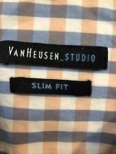 VanHeusen Long sleeve Dress shirt sz 14-14 1/2 32/33 Slim Fit Checks Blue/peach/