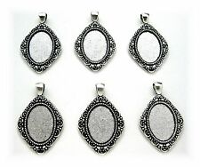 6 Antiqued Silvertone Mirage style 25mm x 18mm Cameo Pendants Frames Settings
