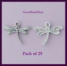 25 Antique Silver Colour 18 x 17mm Pretty Dragonfly Bug Charms