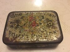 ANTIQUE VICTORIAN THE LADYS OWN TOILET PIN BOX TIN GOAT & HORSE SHORT