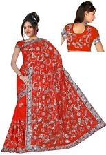 Wedding Women Sequin Embroidery work Saree Shari Sari fabric drape Bellydance J1