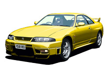 POSTER - NISSAN SKYLINE GTR R33  - (A4, A3, A2) - CHOOSE REG  - PERSONALISE Car