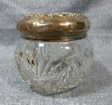 Antique Unger Brothers Sterling Lid Cut Glass Powder Jar