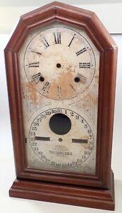 ANTIQUE WALNUT ITHACA DOUBLE DIAL CALENDAR SHELF CLOCK CASE PARTS REPAIR