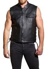 Men's Real Leather Waistcoat SOA Style Motorbike Cut Off Biker Style Zip Pocket