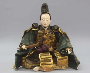 "Antique Japanese Armed Samurai Toyotomi Hideyoshi Gohun Doll 14"" Late Edo Period"