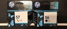 Genuine HP 56 Black + HP 57 Tri-Color Original(OEM) Ink Cartridges NEW/SEALED!