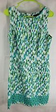 Perceptions New York Lime Green Blue White Abstract Sleeveless Dress Size 10 L56