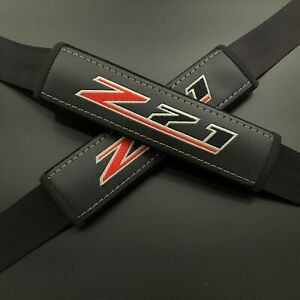 Black seat belt covers pads with embroidery Z71 2PCS