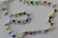 Silver Tone Mixed Colour Seed Bead Anklet, Ankle Chain Bracelet - 22cm+ Extender