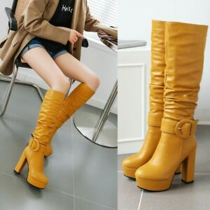 Women High Heels Knee High Boots Zipper Platform Pull On Casual Party Shoes New
