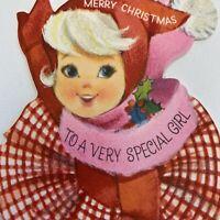 Vintage Mid Century Christmas Greeting Card Pretty Girl Skating Hallmark Pink