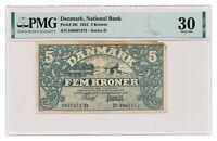 DENMARK banknote 5 Kroner 1922 PMG VF 30 Very Fine