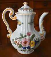 LOVELY GUMP'S EXCLUSIVE HAND PAINTED ITALIAN POTTERY COFFE POT WITH FLORAL MOTIF