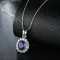 "5 CT Blue Sapphire Gemstone Pendant Necklace in 18K White Gold 18"" Inches ITAL"