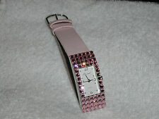 GLITERING PASTEL PINK SAPHIRE AUSTRIAN CRYSTAL WATCH MOTHERS DAY CHRISTMAS GIFT!