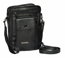 NEW Mens Real Leather Shoulder Organiser Wrist Bag Small Pouch Black