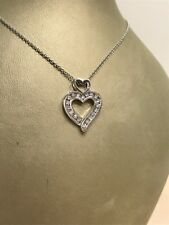 "14k white gold heart necklace H/SI channel set TCW 0.35 carats on 17"" 14k chain"