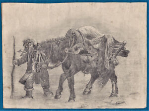 man & horse in storm vintage charcoal drawing signed H Williams 1850 1900