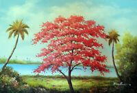 Red Flame Tree Hawaii Shore Palms Lge. Oil On Canvas Painting By Hand STRETCHED
