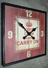 Wanduhr Küchenuhr Uhr QUADRAT Vintage Shabby Landhaus 45 x 45 cm LV KEEP CALM