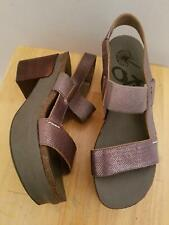 802f597decf OTBT Indio Pewter Leather Block Heel Platform Slingback Sandal 10M