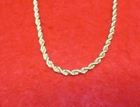 "14KT GOLD EP 24"" 4MM ROPE FRENCH STYLE DESIGNER CHAIN NECKLACE"