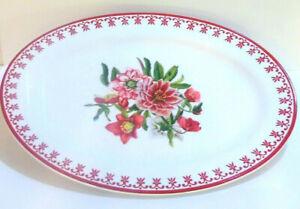"WS Large OVAL SERVING PLATTER 16.3"" AERIN Swiss Alpine Red Flowers Poppy Dahlia"