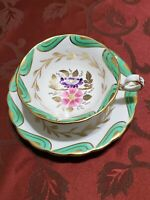 Royal Chelsea Cup & Saucer Floral Center With Green and  Gold Swirls.
