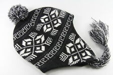 UNISEX AZTEC INSPIRED WINTER THEME BLACK WHTIE PATTERN WOOLY POMPOM HAT (HT17)