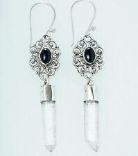 zauberhafte Arwen Ohrhänger 925er Sterling Silber Onyx Bergkristall Mittelalter