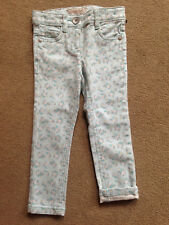 BNWT NEXT Girls Aqua Ditsy Floral Skinny Jeans 3 Years Adjustable Waist