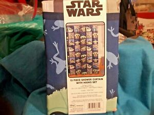 STAR WARS Yoda FABRIC Shower Curtain And Hooks NEW