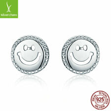 "925 Sterling Silver ""Smile Face"" Unique Classical Stud Earrings for Women Friend"
