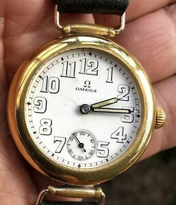 OMEGA 'OFFICER TRENCH' RARE, WWI 1915, ENAMEL DIAL,F/SERVICED 34mm, EXCEPTIONAL!