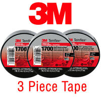 3 ROLLS - 3M ELECTRICAL TAPE UL, BLACK 3/4'' x 60 FT GENUINE TEMELEX 1700