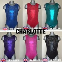 Girls Gymnastics Leotard 'Charlotte' Bodice Foil Metallic Gym Size 28'-36'