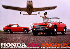 1968 Honda S800 Coupe & Convertible, 2 Cars, RED,Refrigerator Magnet, 40 MIL