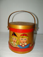 Primitive Hand Painted Wooden Firkin Pail Bucket Folk Art Signed Rustic Country