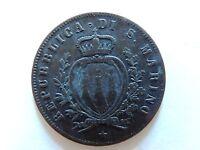 1869 San Marino Five (5) Centesimi Coin