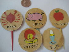 Vintage hand painted appetizer TOOTHPICK SET egg ham cheese mid century folk art