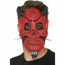 DAY OF THE DEAD DEVIL MASK MOUSTACHE HORNS HALLOWEEN HORROR TATTOO PUNK GOTH