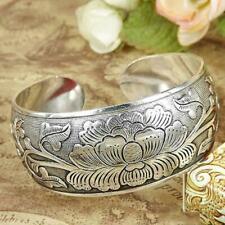 Tibetan Tibet Silver Peony Totem Carved Bangle Cuff Fashion Bracelet Folk-C E2Z0